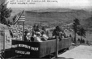 Funicular railway on Lookout Mountain. This was one of two funiculars in Golden. The other ascended Castle Rock on South Table Mountain.